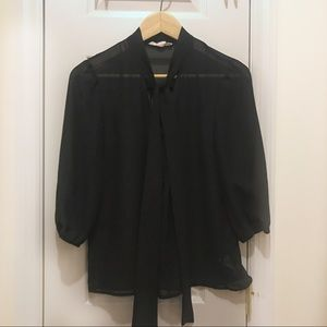 F21 Tie-Neck Sheer Black Blouse